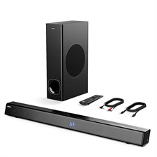 ABOX 2.1 Channel Soundbar with Subwoofer 120W, Bluetooth & Wired Home Theater with Remote Control