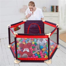 Baby's Paradise Mesh Play Yard Safety Kids Playpen Wooden Sticks