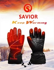 SAVIOR Winter Intelligent Electric Heated Leather Gloves for Skiing, fishing, low temperature Area