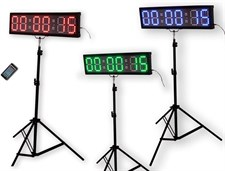 "EU Display 4"" 6 Digits RGB LED Race Timing Clock for Running Events Countdown/up Stopwatch App Suppo"