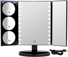 Mirrorvana X-Large LED Lighted Trifold Makeup Mirror 1X, 3X, 5X & 10X Magnification