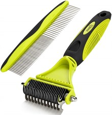 Pecute Dematting Comb Grooming Tool Kit for Dog & Cat Double Sided Blade Rake Comb with Grooming Bru
