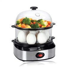 Double Tier Electric Multi Function Egg Cooker with Food Steamer