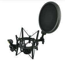 Professional Microphone Shock Mount with Pop Shield Filter Screen SH-100
