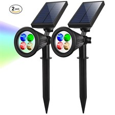 Pack of 2 RGB LED Solar Powered Spotlight Lights Changing Color Outdoor Landscape
