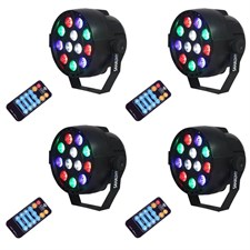 DMX Stage Lights, Par Lights 12 Leds Stage Lighting with Remote Control Sound Activated (Pack of 4)