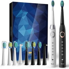 Sboly 2 Sonic Electric Toothbrushes 5 Modes 8 Brush Heads