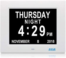SSA 8 Inch Digital Clock Day & Calendar with Extra Large Non-Abbreviated, Perfect for Seniors