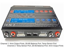 UP100AC Duo Dual 2 Port (CH1 10Amps, CH2 6Amps, 100Watts Total): LiPo, LiIon, LiFe, NiCd, NiMh, Pb