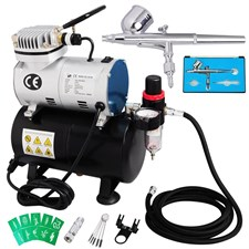 Professional Airbrush Compressor Kit 0.3mm Dual Action Spray Cake, Body & Art Paint