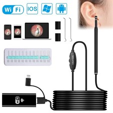 VSATEN  3 in 1 Wireless WiFi Otoscope  1.3 MP Digital Ear Inspection Camera Earwax Cleaning Tool wit